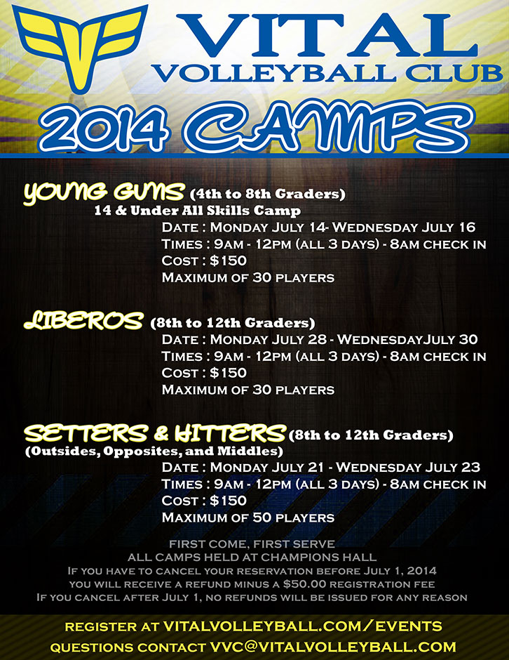 2014 Vital Volleyball Summer Camps
