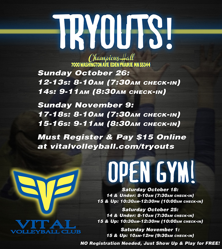 2014/15 Vital Volleyball tryouts banner