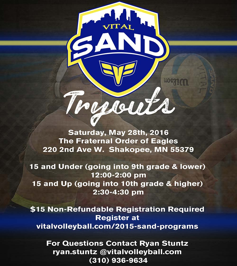 2016 Vital Volleyball Sand Tryouts flyer